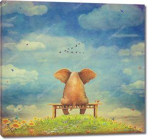 Грустный слон на скамейке