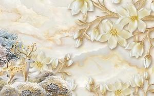 Мраморный фон, олень с цветущими рогами