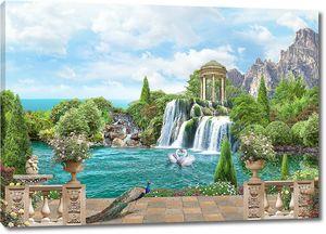 Вид на водопад с ротондой