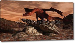 Красный дракон на поток лавы