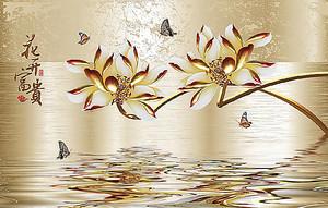 Японские водяные лилии в отражении воды