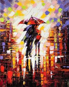 Картина маслом с парой под зонтом