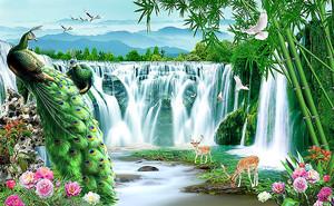 Два павлина у  широкого водопада