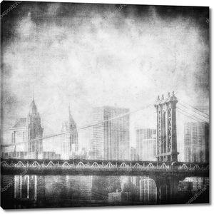 Гранж изображение горизонт Нью-Йорка