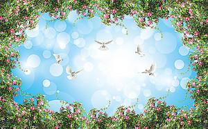 Голуби в небе в рамочке из кустовой розы