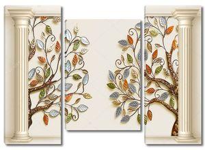 Две колонны, два  деревьев с красочными листьями