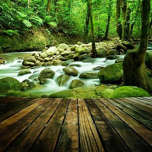 горный водопад деревянный пол перспективы и естественный горный водопад