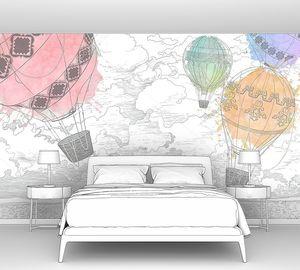 Воздушные шары нарисованные на белой гранж-стене