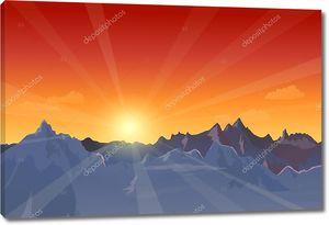 Красивый закат пейзаж