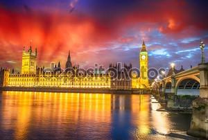 Потрясающий вид на Лондон на фоне линии горизонта