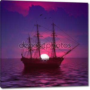 Корабль на фиолетовом закате