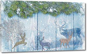 Олени зимой. Рисунок на заборе