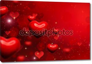 Валентина сердца красный фон