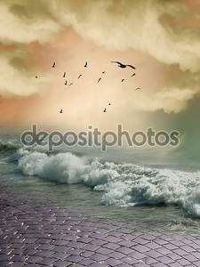 Фантазия: океан и птицы