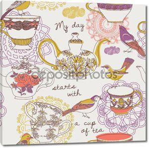 Время чая. бесшовный фон
