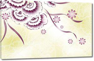Желтый цвет фиолетовый фон, абстрактные цветы и линии