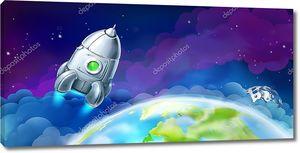Ракета в космосе над землей