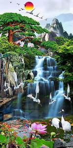 Журавли над водопадом