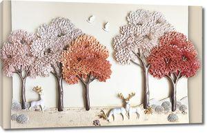 Олени с золотыми рогами под деревьями