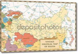 Ретро цветная карта Российской Федерации