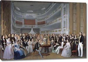 Эскивель и Суарес де Урбина Антонио Мария. Вентура де ла Вега читает пьесу в театре