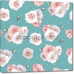 Бесшовный фон с нежными розами
