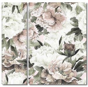 Бесшовный цветочный фон с пионами