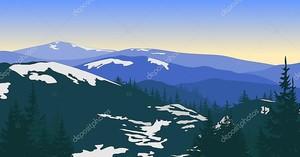 Горный пейзаж с снег и силуэты деревьев