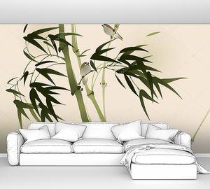 Ласточки на ветвях бамбуковых деревьев