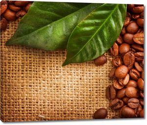 Кофеные зерна с листиками