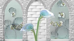 Каллы перед арочными проемами в стене