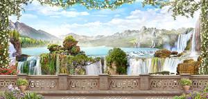 Широкая терраса с видом на водопады