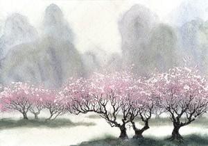Акварель пейзаж. Нежный цветущих деревьев на весенний день
