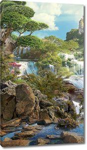 Водопады с красивыми камнями на переднем плане