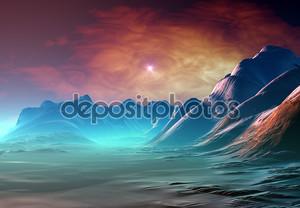 Фантазия планеты с мистической фон
