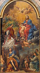 Болонья, Италия - 15 марта 2014: Мадонна в славе с ул. Игнас, ангелы и святые по г. Creti (1736) в DOM - Saint Peters церковь в стиле барокко.
