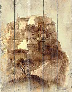 Фреска с видом на город на горе