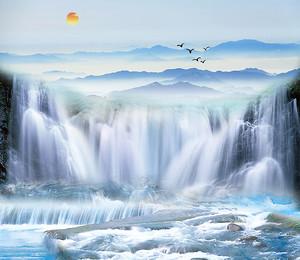 Бурлящий водопад в горах