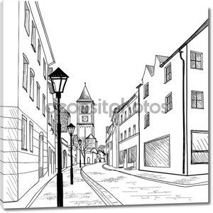 старая европейская городская улица
