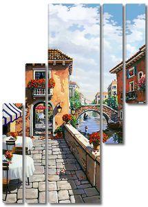 Яркие уличные кафе на набережной в Венеции