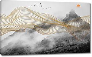 Золотые линии на фоне гор