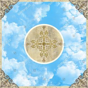 Небо с кругом в центре и орнаментом по углам