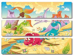 Семья динозавров с фоном