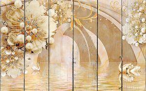 Два лебедя у арки с цветами