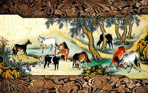 Лошади пасутся. Гобелен