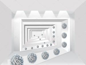 Угловой туннель, гофрированные шары по периметру