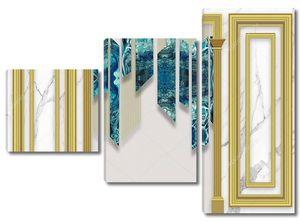 Мраморный фон, золотая арка, синие узорчатые куски стекла