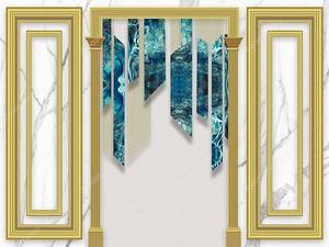 Мраморный фон, арка, синие узорчатые куски стекла