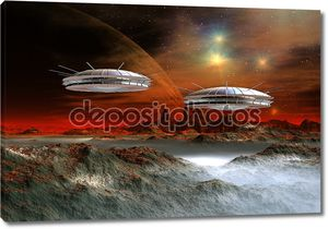 Чужой планете фэнтези с космических кораблей