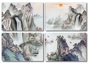 Скалы с водопадами